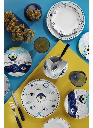 Kütahya Porselen 11013 Desen 24 Parça Yemek Seti Renkli